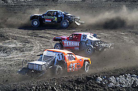 Dec. 18, 2009; Lake Elsinore, CA, USA; LOORRS unlimited two driver Curt Leduc (43) leads Troy Herbst (19) and Adrian Cenni (11) during qualifying for the Lucas Oil Challenge Cup at the Lake Elsinore Motorsports Complex. Mandatory Credit: Mark J. Rebilas-US PRESSWIRE