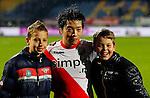 Nederland, Waalwijk, 21 april 2012.Eredivisie .Seizoen 2011-2012.RKC Waalwijk-FC Utrecht (0-2).Yoshiaki Takagi (m.) van FC Utrecht poseert met fans.