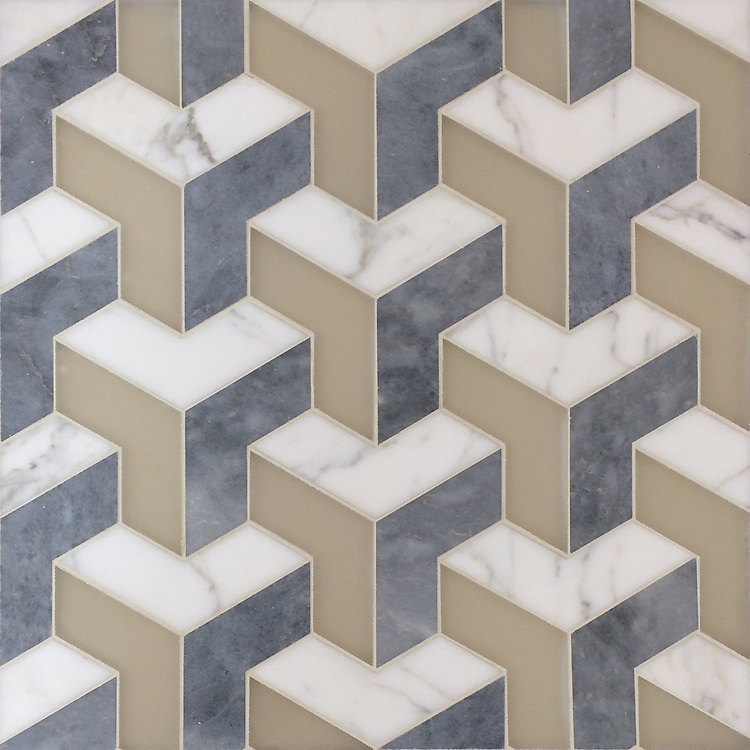 Francois Grand, a handmade mosaic shown in matte Raw Fiber Serenity glass, honed Allure, and honed Calacatta Tia, is part of the Illusions® collection by New Ravenna.