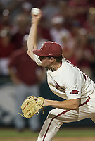 NWA Democrat-Gazette/BEN GOFF @NWABENGOFF<br /> Barrett Loseke, Arkansas pitcher, delivers to a South Carolina Batter in the 9th inning Saturday, June 9, 2018, during game one of the NCAA Super Regional at Baum Stadium in Fayetteville.