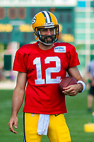 Green Bay Packers quarterback Aaron Rodgers (12) during a training camp practice on August 15, 2017 at Ray Nitschke Field in Green Bay, Wisconsin.   (Brad Krause/Krause Sports Photography)