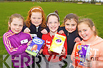 Eggs-tra ordinary explorers l-r: Dearbhla Brosnan, Fiona Callaghan, Elaine O'Donoghue, Aoife Callaghan and Meaghan Brosnan at the Farranfore Easter egg hunt in the Firies GAA field..