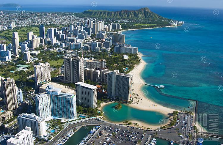 Aerial view of the Hilton Hawaiian Village Hotel and Lagoon with Waikiki and Diamond Head beyond
