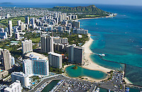 Aerial view of the Hilton Hawaiian Village Hotel and Lagoon with Waikiki and Diamond Head beyond