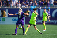 Orlando, Florida - Sunday, May 8, 2016: Seattle Reign FC midfielder Keelin Winters (11) loses the ball to Orlando Pride midfielder Kaylyn Kyle (6) during a National Women's Soccer League match between Orlando Pride and Seattle Reign FC at Camping World Stadium.