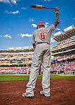 22 May 2015: Philadelphia Phillies first baseman Ryan Howard stands on deck during a game against the Washington Nationals at Nationals Park in Washington, DC. The Nationals defeated the Phillies 2-1 in the first game of their 3-game weekend series. Mandatory Credit: Ed Wolfstein Photo *** RAW (NEF) Image File Available ***
