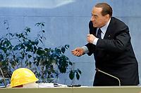 Silvio Berlusconi making a joke<br /> Roma 22/02/2018. Silvio Berlusconi incontra l'ACE, Associazione Nazionale Costruttori Edili.<br /> Rome February 22nd 2018. Silvio Berlusconi meet ANCE, National Association of Builders.<br /> Foto Samantha Zucchi Insidefoto