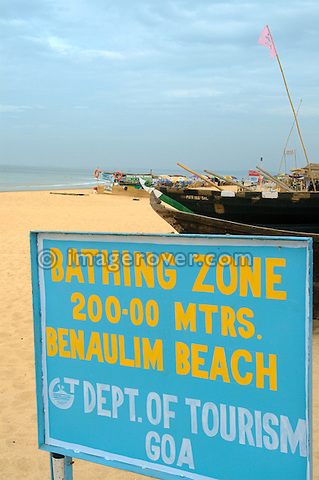 Bathing Zone. Benaulim Beach, Goa, India.