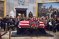 Washington, DC December 4 ,2018: The casket of former President George H.W. Bush lies in the rotunda of the US Capitol in Washington DC.The 41st President died on November 30,2018 and will be buried next to his wife and daughter in Texas.<br /> CAP/MPI/PYL<br /> &copy;PYL/MPI/Capital Pictures