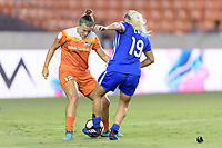 Houston, TX - Saturday July 22, 2017: Amber Brooks and Adriana Leon during a regular season National Women's Soccer League (NWSL) match between the Houston Dash and the Boston Breakers at BBVA Compass Stadium.