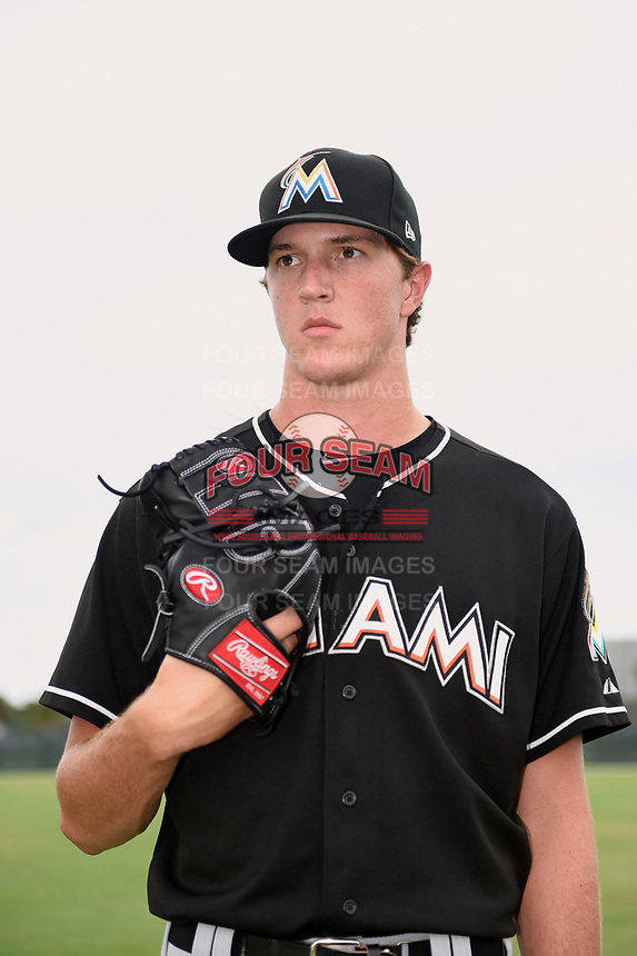 GCL Marlins pitcher Trevor Rogers (35) poses for a photo after the second game of a doubleheader against the GCL Nationals on July 23, 2017 at Roger Dean Stadium Complex in Jupiter, Florida.  GCL Nationals defeated the GCL Marlins 1-0.  (Mike Janes/Four Seam Images)