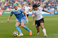 Bridgeview, IL - Sunday June 25, 2017: Julie Johnston Ertz, Samantha Kerr during a regular season National Women's Soccer League (NWSL) match between the Chicago Red Stars and Sky Blue FC at Toyota Park. The Red Stars won 2-1.