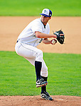 25 July 2010: Vermont Lake Monsters pitcher Glenn Gibson on the mound against the Tri-City ValleyCats at Centennial Field in Burlington, Vermont. The ValleyCats came from behind to defeat the Lake Monsters 10-8 in NY Penn League action. Mandatory Credit: Ed Wolfstein Photo