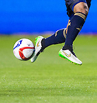 Philadelphia Union defender Sheanon Williams (25) kicks the ball against Real Salt Lake in the second half Saturday, March 14, 2015, during the Major League Soccer game at Rio Tiinto Stadium in Sandy, Utah. (© 2015 Douglas C. Pizac)
