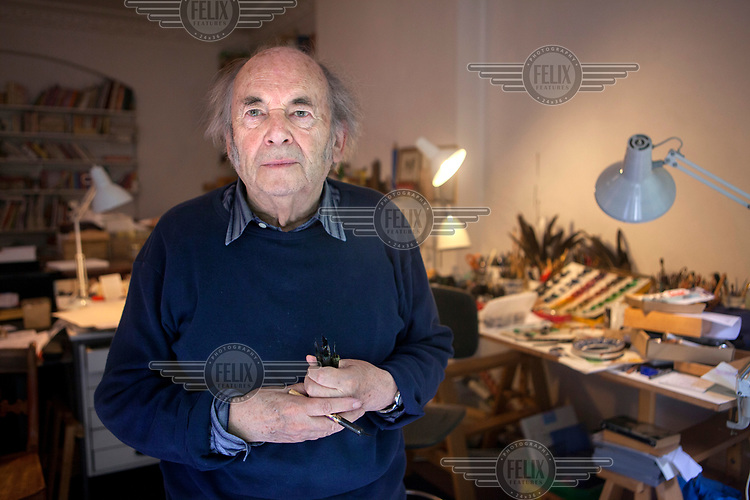 Artist Quentin Blake in his Studio in Earl's Court.