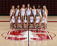 STANFORD, CA - September, 20, 2016: The 2016-2017 Stanford Women's Basketball Team.  Dijonai Carrington (21), Alexa Romano (22), Marta Sniezek (13), Briana Roberson (10), Anna Wilson (3), Mikaela Brewer (14), Karlie Samuelson (44), Erica McCall (24), Alanna Smith (11), Shannon Coffee (2), Kaylee Johnson (5), Nadia Fingall (4), Brittany McPhee (12)