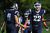 Curtis Lafond #22 of Northport gets congratulated by teammates after making an acrobatic catch for a 35-yard touchdown in the second quarter of a Suffolk County Division I varsity football game against Patchogue-Medford at Half Hollow Hills East High School in Dix Hills on Sunday, Oct. 1, 2017. Northport won by a score of 35-19.