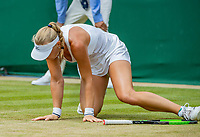 London, England, 9 th. July, 2018, Tennis,  Wimbledon, Womans single fourth round: Kiki Bertens (NED)  falling in her match against Karolina Pliskova (CZE)<br /> Photo: Henk Koster/tennisimages.com