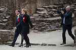 © Joel Goodman - 07973 332324 . 17/04/2015 . Chester , UK . Chris Matheson and Eddie Izzard campaigning in the City of Chester constituency for the Labour Party . Photo credit : Joel Goodman