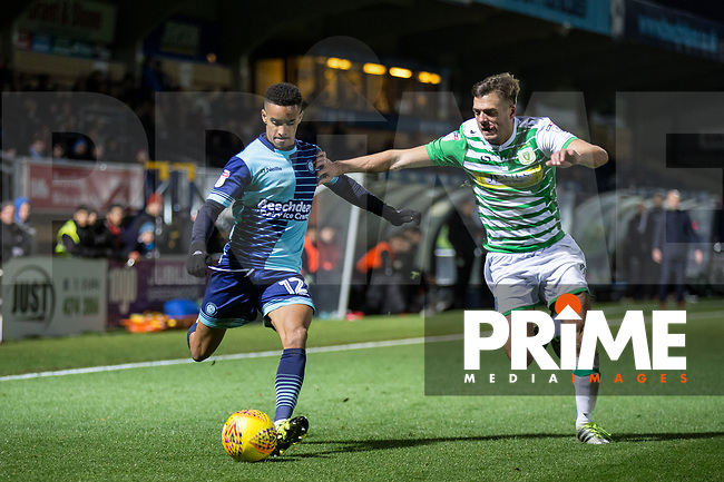 Paris Cowan-Hall of Wycombe Wanderers & Ryan Dickson of Yeovil Town during the Sky Bet League 2 match between Wycombe Wanderers and Yeovil Town at Adams Park, High Wycombe, England on 25 November 2017. Photo by Andy Rowland.