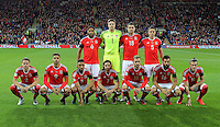 Wales players pose for a team picture during the 2018 FIFA World Cup Qualifier between Wales and Serbia at the Cardiff City Stadium, Wales, UK. Saturday 12 November 2016