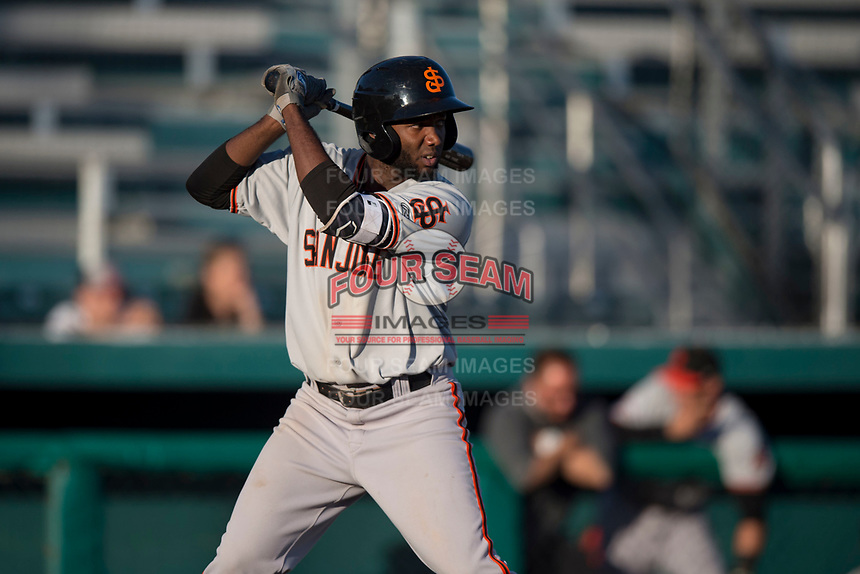 San Jose Giants right fielder Sandro Fabian (54) at bat during a California League game against the Modesto Nuts at John Thurman Field on May 9, 2018 in Modesto, California. San Jose defeated Modesto 9-5. (Zachary Lucy/Four Seam Images)