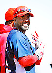 4 March 2010: Washington Nationals' outfielder Willy Taveras awaits his turn in the batting cage prior to the Nationals-Astros Grapefruit League Opening game at Osceola County Stadium in Kissimmee, Florida. The Houston Astros defeated the Nationals split-squad 15-5 in Spring Training action. Mandatory Credit: Ed Wolfstein Photo
