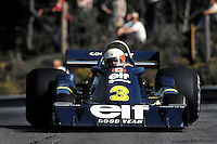 Jody Scheckter drives the Tyrrell P34 six-wheel Formula 1 car during the Canadian Grand Prix at Mosport, Canada.