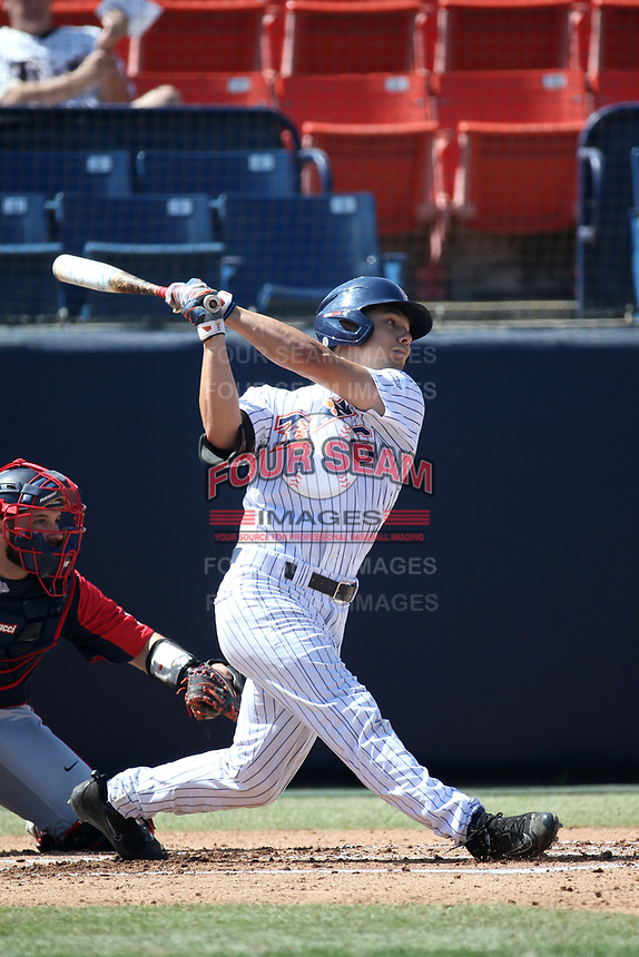 Scott Hurst (6) of the Cal State Fullerton Titans bats against the Gonzaga Bulldogs at Goodwin Field on March 12, 2017 in Fullerton, California. Fullerton defeated Gonzaga, 3-2. (Larry Goren/Four Seam Images)