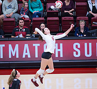 STANFORD, CA - November 4, 2018: Michaela Keefe at Maples Pavilion. No. 2 Stanford Cardinal defeated the Utah Utes 3-0.