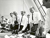 Cape Canaveral, FL - (FILE) -- Apollo 11 mission officials relax in the Launch Control Center following the successful Apollo 11 liftoff on Wednesday, July 16, 1969. From left to right are: Charles W. Mathews, Deputy Associate Administrator for Manned Space Flight; Dr. Wernher von Braun, Director of the Marshall Space Flight Center; George Mueller, Associate Administrator for the Office of Manned Space Flight; Lt. Gen. Samuel C. Phillips, Director of the Apollo Program.Credit: NASA via CNP