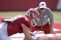 NWA Democrat-Gazette/ANDY SHUPE<br /> Arkansas assistant coach Mark Smith watches Thursday, Aug. 9, 2018, during practice at the university's practice facility in Fayetteville. Visit nwadg.com/photos to see more photos from practice.