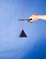 NEWTON'S LAWS OF MOTION<br /> Newton's First Law: Hanging mass<br /> (1 of 2)<br /> When a body is left alone it maintains constant velocity. In this case constant velocity equals zero. The mass has two forces acting on it, gravity and the string. The net force is zero. Which is the same as being left alone.