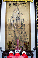 Nanjing, Jiangsu, China.  Portrait of Confucius in the Dacheng Temple Building of the Confucian Temple Complex.