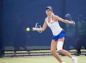 June 14th 2017, Nottingham,  England; WTA Aegon Nottingham Open Tennis Tournament day 5;  Forehand from Magda Linette of Poland