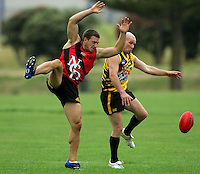 Jimmy Gopperth shows his newfound AFL technique during the Preseason Cross-code Rugby Union v Australian Rules friendly between the Hurricanes and Wellington Tigers at  Elsdon Park, Porirua, New Zealand on Tuesday, 15 January 2008. Photo: Dave Lintott / lintottphoto.co.nz.