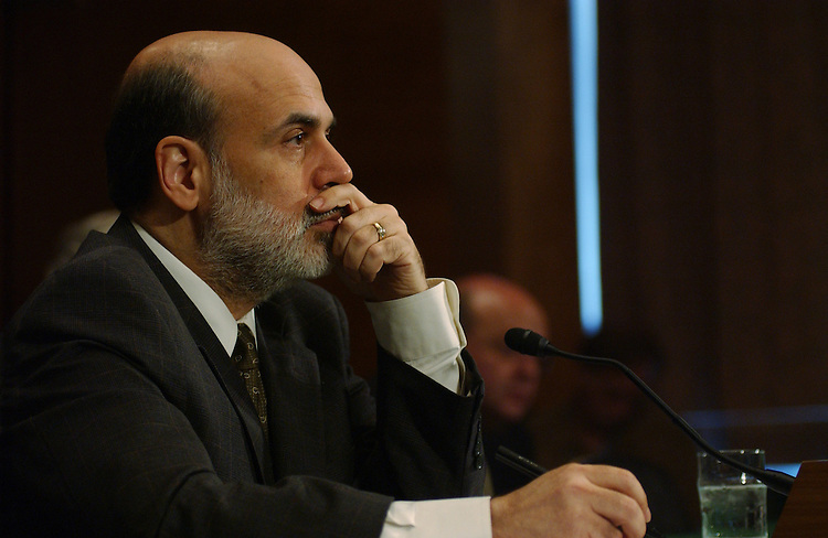 WASHINGTON - July 19:  Federal Reserve Chairman Ben Bernanke during the semiannual monetary policy report with the Senate Banking, Housing, and Urban Affairs Committee. (Photo by Dana Statton/Congressional Quarterly)