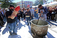 Pictured: The traditional soup which is part of the celebrations in Tirnavos, central Greece. Monday 11 March 2019<br /> Re: Bourani (or Burani) the infamous annual carnival which dates to 1898 which takes place on the day of (Clean Monday), the first days of Lent in Tirnavos, central Greece, in which men hold phallus shaped objects as scepters in their hands.
