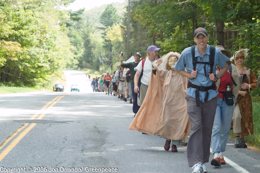 Bill McKibben leads a march of more than 200 people on the first of  a five day walk across Vermont to raise awareness on Global Warming.