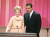 First lady Nancy Reagan and actor Tom Selleck on the podium of the 1988 Republican Convention at the Super Dome in New Orleans, Louisiana on August 15, 1988.<br /> Credit: Arnie Sachs / CNP