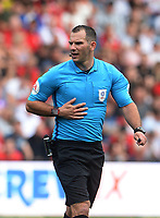 Referee Tim Robinson during the game <br /> <br /> Photographer Ian Cook/CameraSport<br /> <br /> The EFL Sky Bet Championship - Bristol City v Leeds United - Sunday 4th August 2019 - Ashton Gate Stadium - Bristol<br /> <br /> World Copyright © 2019 CameraSport. All rights reserved. 43 Linden Ave. Countesthorpe. Leicester. England. LE8 5PG - Tel: +44 (0) 116 277 4147 - admin@camerasport.com - www.camerasport.com