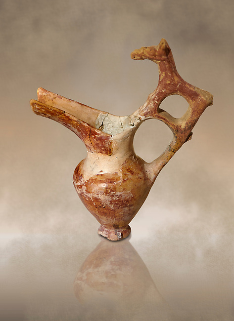 Bronze Age Anatolian terra cotta spouted pitcher with animal shaped handle - 19th to 17th century BC - Kültepe Kanesh - Museum of Anatolian Civilisations, Ankara, Turkey.  Against a warn art background.