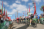 Riders approach the finish line at the end of Stage 13 of the La Vuelta 2018, running 174.8km from Candas, Carreno to Valle de Sabero, La Camperona, Spain. 7th September 2018.<br /> Picture: Unipublic/Photogomezsport | Cyclefile<br /> <br /> <br /> All photos usage must carry mandatory copyright credit (&copy; Cyclefile | Unipublic/Photogomezsport)