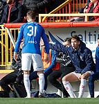 03.03.2019 Aberdeen v Rangers: Nikola Katic instructing Borna Barisic