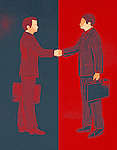 Illustrative image of businessmen shaking hands over a deal