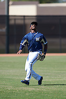 Milwaukee Brewers Troy Stokes (28) during an instructional league game against the Cleveland Indians on October 8, 2015 at the Maryvale Baseball Complex in Maryvale, Arizona.  (Mike Janes/Four Seam Images)