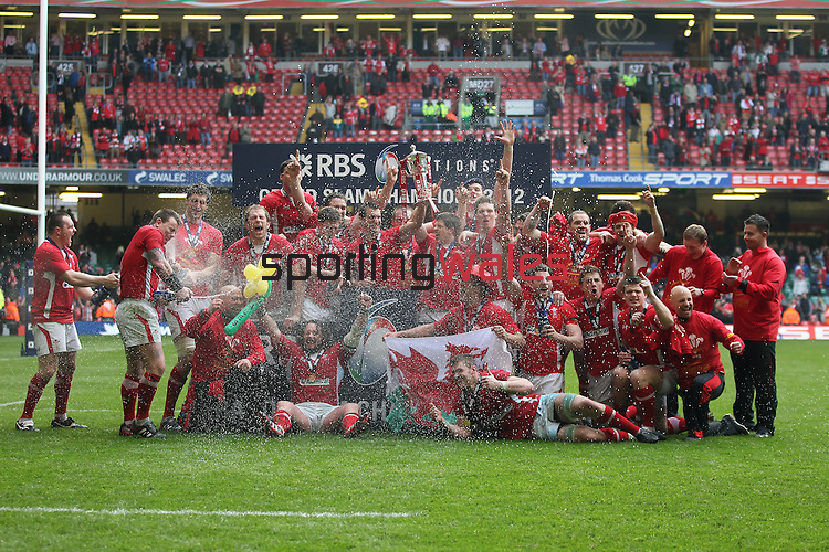 Wales celebrate winning the 6 Nations Championship and Grand Slam after victory over France..RBS 6 Nations 2012.Wales v France.Millennium Stadium.17.03.12..CREDIT: STEVE POPE-SPORTINGWALES