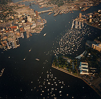 """1991 June ..Redevelopment.Downtown South (R-9)..Harborfest Aerials from helicopter.Low angle from Portsmouth.2 1/4""""  color negs...NEG#.NRHA#.06/91  (REDEV  :DT  Sth3:2  :17  :1-F12)."""