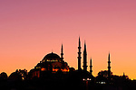 Suleymaniye Sundown 01 - Suleymaniye Mosque and Rustem pasa Mosque at sundown, from Eminonu, Istanbul, Turkey