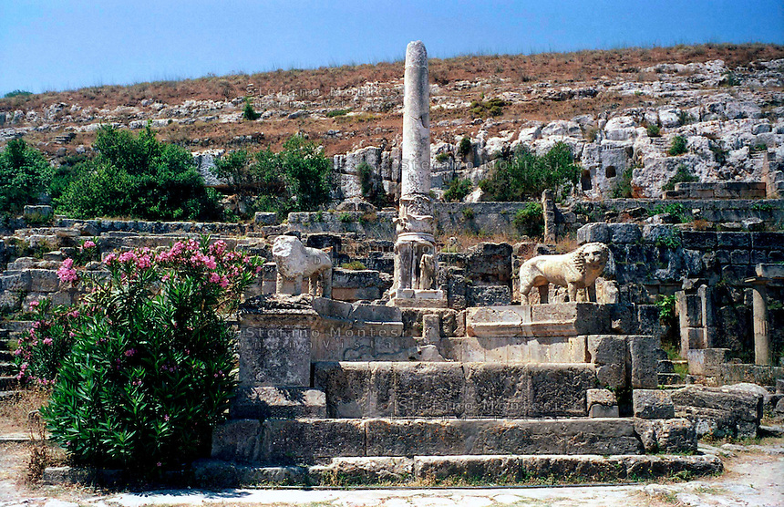 Libya   Cyrene.Archaeological site, Apollo sanctuary,  .City founded by the Greek 3rd century BC.Ruins of Sanctuary of Apollo.Column of Pratomedes.UNESCO World Heritage Site......